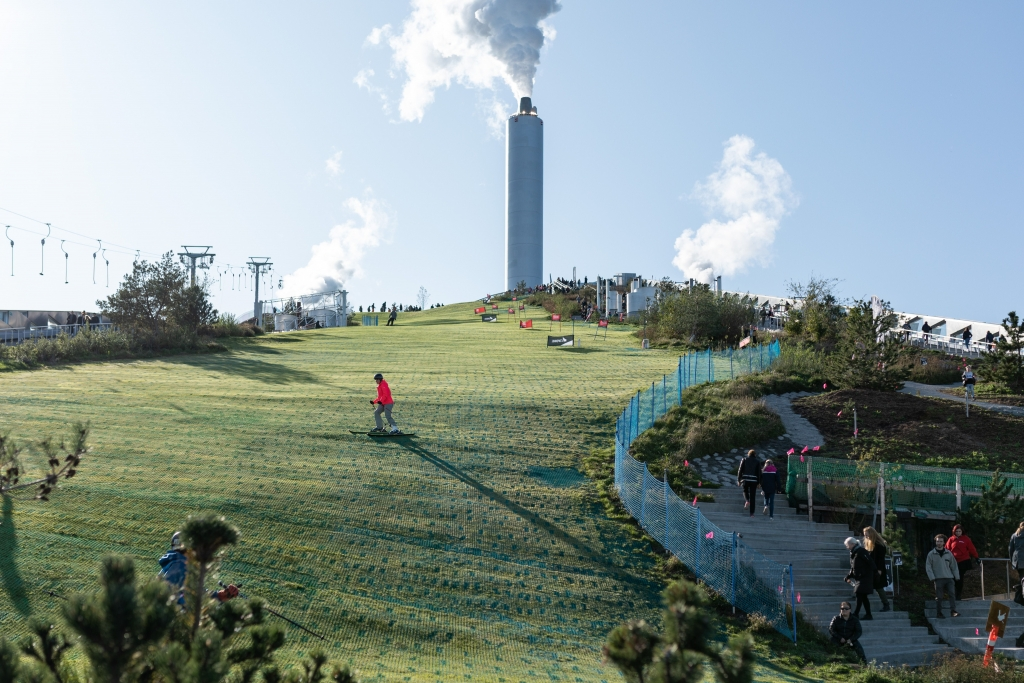 Sustainable incinerator in Copenhagen that burns waste to produce heat and electricity - and could sustainably burn unwanted clothes.
