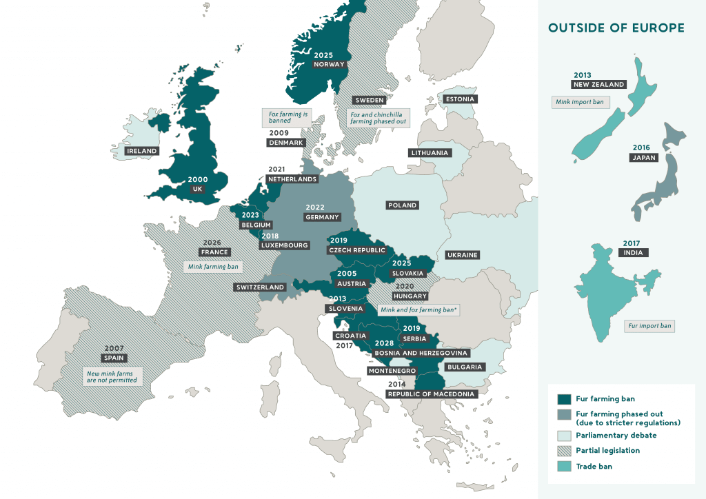 map of fur farming bans across Europe